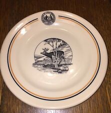 """West Virginia State Park seal  7"""" Bread Plate Deer McNicol ROLOC China - RARE"""