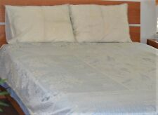Beige Color Net Fabric Bedspread Flat Sheet Embroidered From India