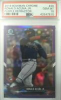 Ronald Acuna Jr RC PSA 10 Purple Refractor 2018 Bowman Chrome Atlanta Braves