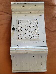 VTG Rustic Wood 8 Hook Key Storage Box Wall Mount Country Flowers, Bird Decor