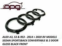 Badge Grille Badge Rings for Audi 2014 > 2020 A3 S3 RS3 8V & FL Gloss Black