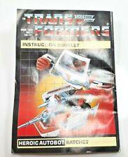 Ratchet G1 Autobot Medic Transformer Instructions Part Only [RAMI363]