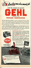 1953 Print Ad of Gehl Forage Harvester Tractor any boy can do a man's job