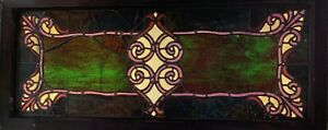 Antique Vintage c1880 American Aesthetic Stained Glass Transom Window
