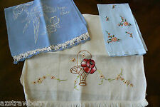 VTG lot of 3 Hand made Floral Parrot pattern Linen Embroidery tea towel Cloth