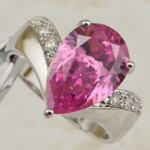 Size 8 9 10 11 Beauty Pink Tourmaline Pear Gems Jewelry Gold Filled Ring R2417