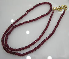 Natural Ruby String 3mm 39cts Round Fascited Bright Red Color With Metal Clasp