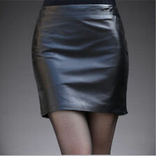 Above Knee Faux Leather Solid Mini Skirts for Women