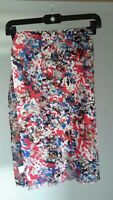 J. Crew Red Blue White Black Pattern 100% Polyester Lightweight Scarf Pre-owned