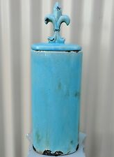 Rustic blue tall ceramic vase w fancy lid home decor ornament feature VTG style