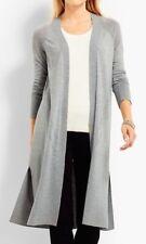 Nwt Talbots 3X (22W-24W) Gray No Close Merino Wool Long Cardigan