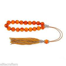 Greek Worry Beads, Komboloi - Orange Amber, 925 Silver Parts, Silk Cord & Tassel