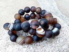 10 mm Genuine Round Coffee Onyx Agate Beads - Grade A + -  Matte - 1 mm Hole