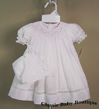 NWT Petit Ami White Rose Voile Smocked Daygown Bonnet 2PC Preemie Bishop Dress