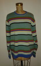 Boden Blue Red Green Striped Light Wool Sweater Sz Large