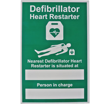 AED DEFIBRILLATOR SIGN - NEAREST LOCATION -RIGID PLASTIC - 20CM X 30CM - A4 SIZE