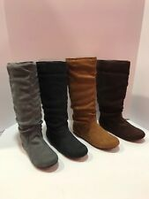 women casual comfort mid calf knee high round toe slouch flat boot shoes