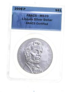 MS70 2009-P Lincoln Bicentennial Commemorative Silver Dollar - Graded ANACS *227