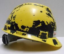 YELLOW IRONWORKERS LOCAL 732 HARD HAT, MSA CAP, SAFETY HELMET, LINER & STICKERS