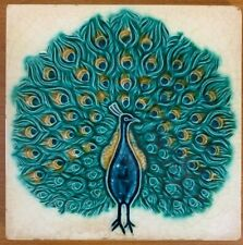 Peacock tile rare 6x6 inch Japan/Dutch collectible antique majolica 1920