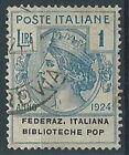 1924 REGNO USATO ENTI PARASTATALI BIBLIOTECHE POP. 1 LIRA - RR13864