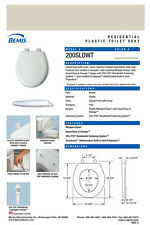 Bemis 200Slowt-335 Round Plastic Slow Close Toilet Seat - Island Sea