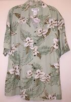 New Milson by KY's Mens Hawaiian Shirt 100% Rayon Poplin Green Orchid Large
