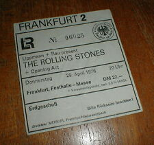 ROLLING STONES 1976 Frankfurt, Germany CONCERT TICKET STUB embossed