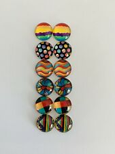 6 Pairs Of 12mm Glass Cabochons #934