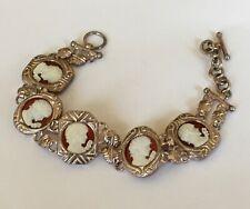 Sterling Silver carnelian cameo bracelet Cameo of Flora Lazer carved stone came