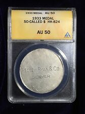 Pedley Ryan, Colorado, HK-824, 1 oz .990 Fine Silver So-Called Dollar ANACS 50