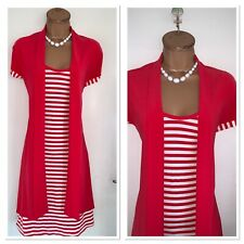 JOSEPH RIBKOFF Red Striped Tunic Dress With Attached Cardigan Uk Size 14