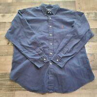 Ralph Lauren Mens XL Blake 100% Cotton Button Up Down Dress Shirt Blue Pony
