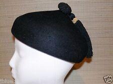 Vintage Black Felt Firm Beret Hat w/ Tassel Tracey Tooker Small