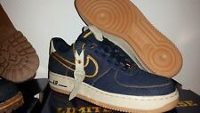NIKE AIR FORCE 1 JEAN DENIM GOLD BRONZE, Taille 42.5EU / 9US / 8UK (27CM) NEUF