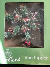 NEW NIB CHRISTMAS TREE TOPPER WOODLAND COLLECTION PINES BERRIES FROSTED SNOW