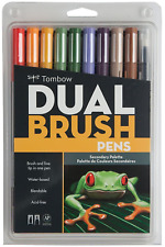 Tombow ABT Dual Brush Pen Art Markers - Brush & Fine Tip - Set of 10 - Secondary