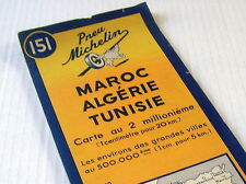 OLD MICHELIN MAP~1952~MAROC~ALGÉRIE~TUNISIE~MOROCCO~ALGERIA~ TUNISIA~BIBENDUM