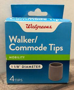 Walgreens Walker/Commode Tips   -  1 1/8 Inch Diameter (4 Tips)