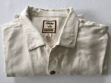TOMMY BAHAMA Mens Large Beige Button Front Shirt 100% Silk L EUC