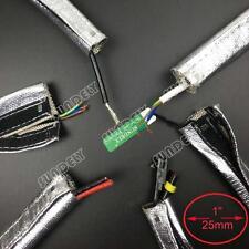 "Metallic Heat Shield Sleeve Insulated Wire Hose Cover Wrap Loom Tube 1"" 10 Feet"