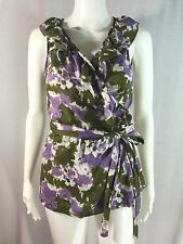 Ann Taylor LOFT Sz S Purple Green Floral 100% Cotton Ruffle Wrap Sleeveless Top