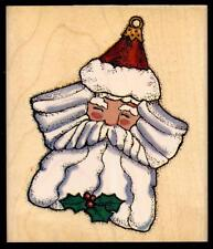 INKADINKADO rubber stamp VINTAGE SANTA ORNAMENT  wood mounted Christmas, Large