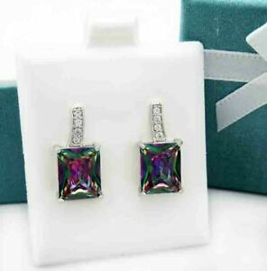 MYSTIC TOPAZ 6.86 Cts & WHITE SAPPHIRE EARRINGS Silver Plated ** NEW WITH TAG