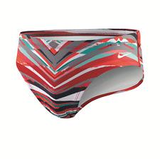 NIKE Mens Brief TFSS0030 Rio Geo CRIMSON RED Swim Team Wear Suit Gym 30-38 $50