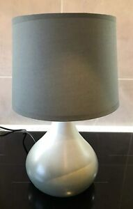 Grey Ombre Tear Drop Base Table Lamp with Grey Lamp Shade