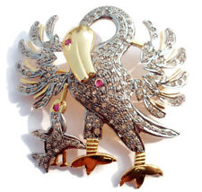 Victorian 3.52ct Rose Cut Diamond Ruby Pelican In Her Piety Brooch