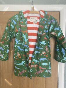 Childs Hatley Polyurethane Hood Raincoat. Cotton Lined  Size 6 Reptile Green