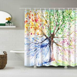 Large Art Printe Waterproof Bathroom Shower Curtain Set with Hooks Bath Decors