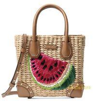 New - Michael Kors Malibu Medium Straw/Leather Messenger Bag In Watermelon